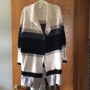 Striped long cardigan sweater